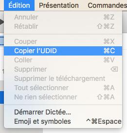 iTunes - Copier l'UDID