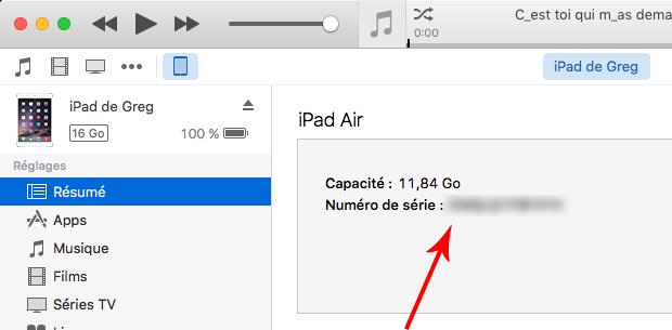 iTunes - Cliquez sur le numéro de série