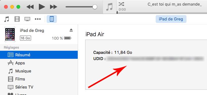 iTunes - votre UDID apparait